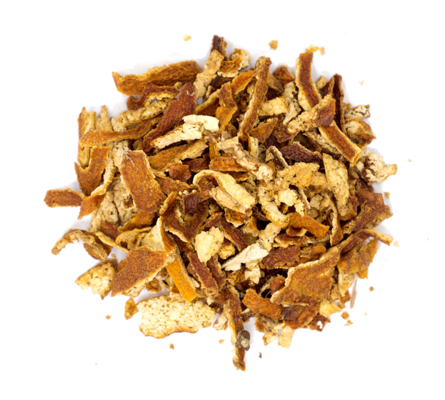 A pile of dried orange peel pieces